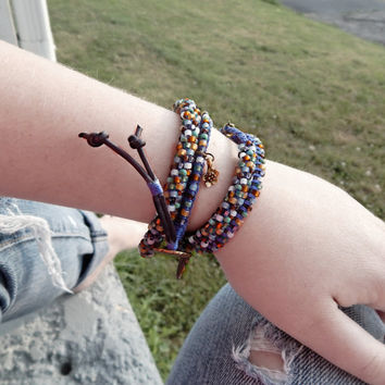 Arm Party Blue and Brown Kumihimo Braid bohemian 2x Wrap Bracelet with bronze heart and hand charm