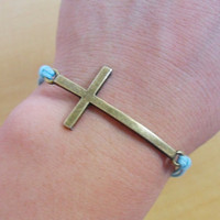 Jewelry bangle hemp ropes bracelet simple bracelet cross bracelet women bracelet made of blue hemp ropes and ancient cross  SH-2187