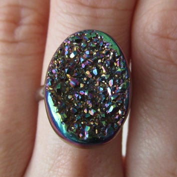 Sparkly Titanium Druzy Drusy Agate Ring - Candy Colored Druzy - Silver Band
