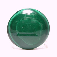 Green Banded Malachite Round Calibrated Flat Back Natural Stone Cabochon 38 mm Bulls eye Semi Precious Unset Loose Jewel