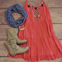 Rio Delmar Coral Embroidered Dress