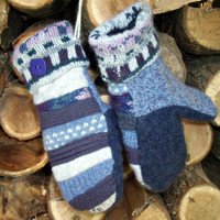 Recycled Mittens WOOL patchwork blue purple Made in Wisconsin Fleece Lined Sweaty Mitts Upcycled WARM