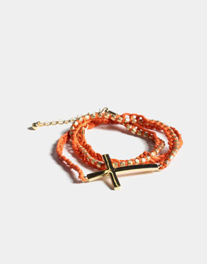 Cross Beaded Friendship Wrap Around in Orange
