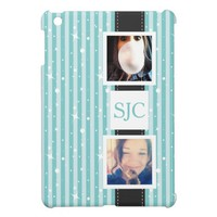Personalized Photos and Initials Girly Stripes