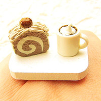 Coffee Ring  Miniature Food Jewelry Coffee Chestnut Roll Cake