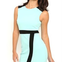 Sleeveless Bodycon Dress with Black Trim and Asymmetrical Skirt
