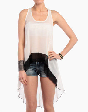 Chiffon Long Tank in White/Black