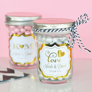 Personalized Metallic Foil Mini Mason Jar Wedding Favors