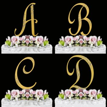 Swarovski Gold Sparkle Font Crystal Wedding Cake Topper
