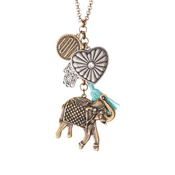 Elephant Tassel Cluster Long-Strand Necklace