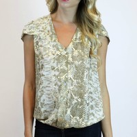 Ruffled Up Blouse in Gold | Ark & Co.