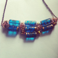 Blue, Gold and Copper Glass and Wire Necklace