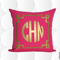 Monogram Throw Pillow Cover -  Gold or Silver - Chinoise Greek Monogram Pillow Cover Pink