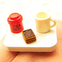 Tea Ring  Miniature Food Jewelry Tea Chocolate Cookies