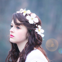 flower hair band, flower hair crown, dogwood blossom halo, bridal flower