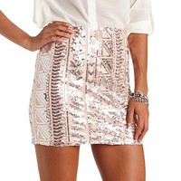 BODYCON TRIBAL SEQUIN MINI SKIRT