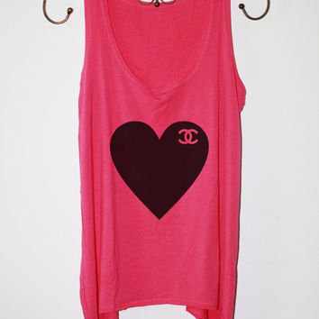 Heart Chanel - Women Tank Top - Hot Pink - Sides Straight