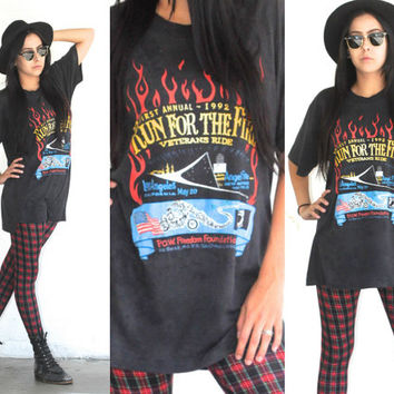 Vintage 90s Boho Hipster // Run For The Fire Graphic Tee // Motorcycle T Shirt // Veterans and PoW Support // XS Small Medium Large