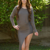 Asymmetrical Dolman Dress - Brown