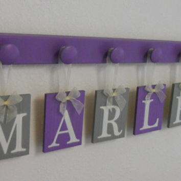 Baby Girl Nursery Wall Decor - Purple and Gray Hanging Ribbon Letter Name Sign Personalized for MARLEY Includes 6 Pegs Holder