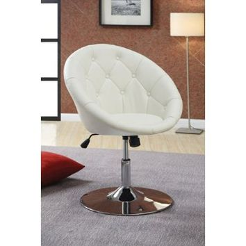 Coaster 102583 Round-Back Swivel Chair, White:Amazon:Home & Kitchen