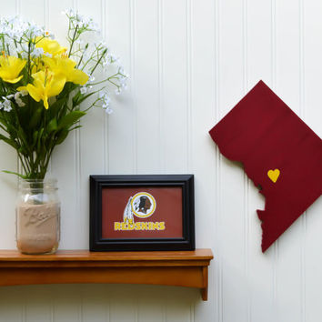 "Washington Redskins  ""State Heart"" wall art, handcrafted wood with official team colors"