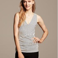 Mixed-Stripe Shirred V-neck Top