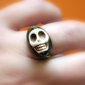 Howlite Turquoise Skull Beads Ring - To Order - Brown, Mocha, Bronze, Fall, Almond, Orange, Face, Beige, Jewelry Rings, Halloween Jewelry
