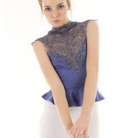 FRENCH LACE TRIM MATTE JERSEY PEPLUM TOP @ KiwiLook fashion