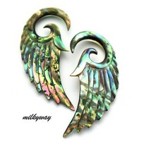 00G 10MM ABALONE ANGEL WINGS Ear Gauges Plugs Organic stretcher taper oil slick seraphim (Sold By Pair)