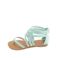 QUPID STRAPPY ANKLE CUFF THONG SANDALS