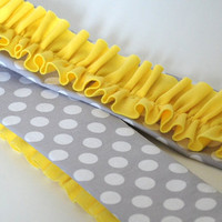 Yellow Ruffle Camera Strap Cover - Michael Miller Gray and White Ta Dot