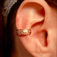 Copper Ear Cuff with Embossed Swirls