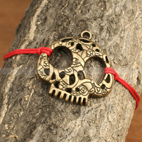 Skull bracelet- Adjustable antique bronze skull bracelet