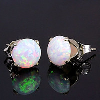 3.2 carats 8mm Australian Fiery White Opal Crown Set Stud Post Earrings 925 Sterling Silver