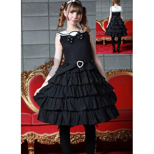 Affordable Sleeveless Multi-Layer Cotton Black Sweet Lolita Dress [TQL120507010] - 50.59