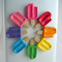 Cute Fridge magnets - Popsicles (set of 3) pick your colors pink, magenta, red, orange, yellow, green, blue, purple