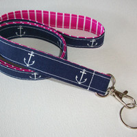 Lanyard  ID Badge Holder - Anchors - Lobster clasp and key ring - navy blue white with pink white stipes two toned double sided