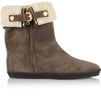 Burberry Shoes & Accessories | Shearling-lined suede ankle boots | NET-A-PORTER.COM