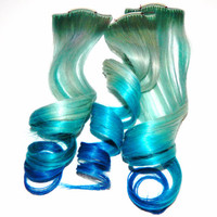 Pastel Mermaid Ombre Clip In Human Hair Extensions Dip Dye Tye Dye Blue Rainbow Hair