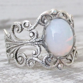 Opal Rings, Opal Jewelry, October Birthstone Ring, White Glass Opal Ring, Silver Opal Jewelry, Antique Silver Opal Ring