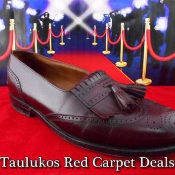 Mens shoes BOSTONIAN Burgandy LEATHER Wingtip Tassel Kiltie Loafers USA 10.5 M