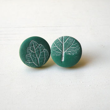 mint green polymer clay stud earings • white acrylic paint mint leaf impression