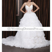 Ball Gown V-neck Chapel Train Satin Organza Wedding Dress (TBGWD011) [TBGWD011] - $174.99 : wedding fashion, wedding dress, bridal dresses, wedding shoes