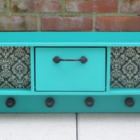 Handbuilt wood entryway cabinet finished with Annie Sloan Florence chalk paint and Damask decoupage backsplash