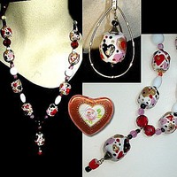 MY PATCHWORK HEART Lots-a-Hearts in this Unique Handmade, Hand Painted, Necklace and Earring Set | whiteowldesigns - Jewelry on ArtFire