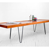 Vintage Hairpin Wood Coffee Table - Mid Century, Modern, Retro