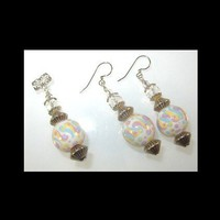 LIGHT PASTELS Earrings and Pendant, Unique Handmade, Hand Painted, Beads, Light Weight | whiteowldesigns - Jewelry on ArtFire