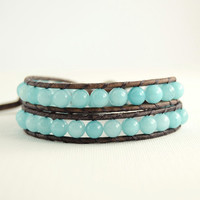 Aqua beaded wrap bracelet. Bohemian chic jewelry.