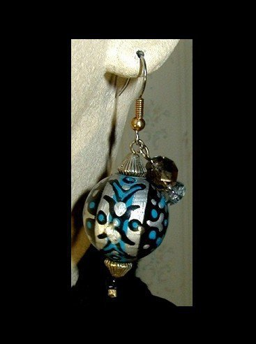 Russian Filigree Round Handmade, Hand Painted,  Dangle Earrings | whiteowldesigns - Jewelry on ArtFire